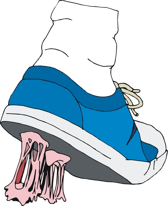Clipart images of chewed up shoes and furniture.