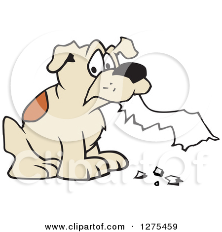 Clipart picture of paper chewed up by a dog.