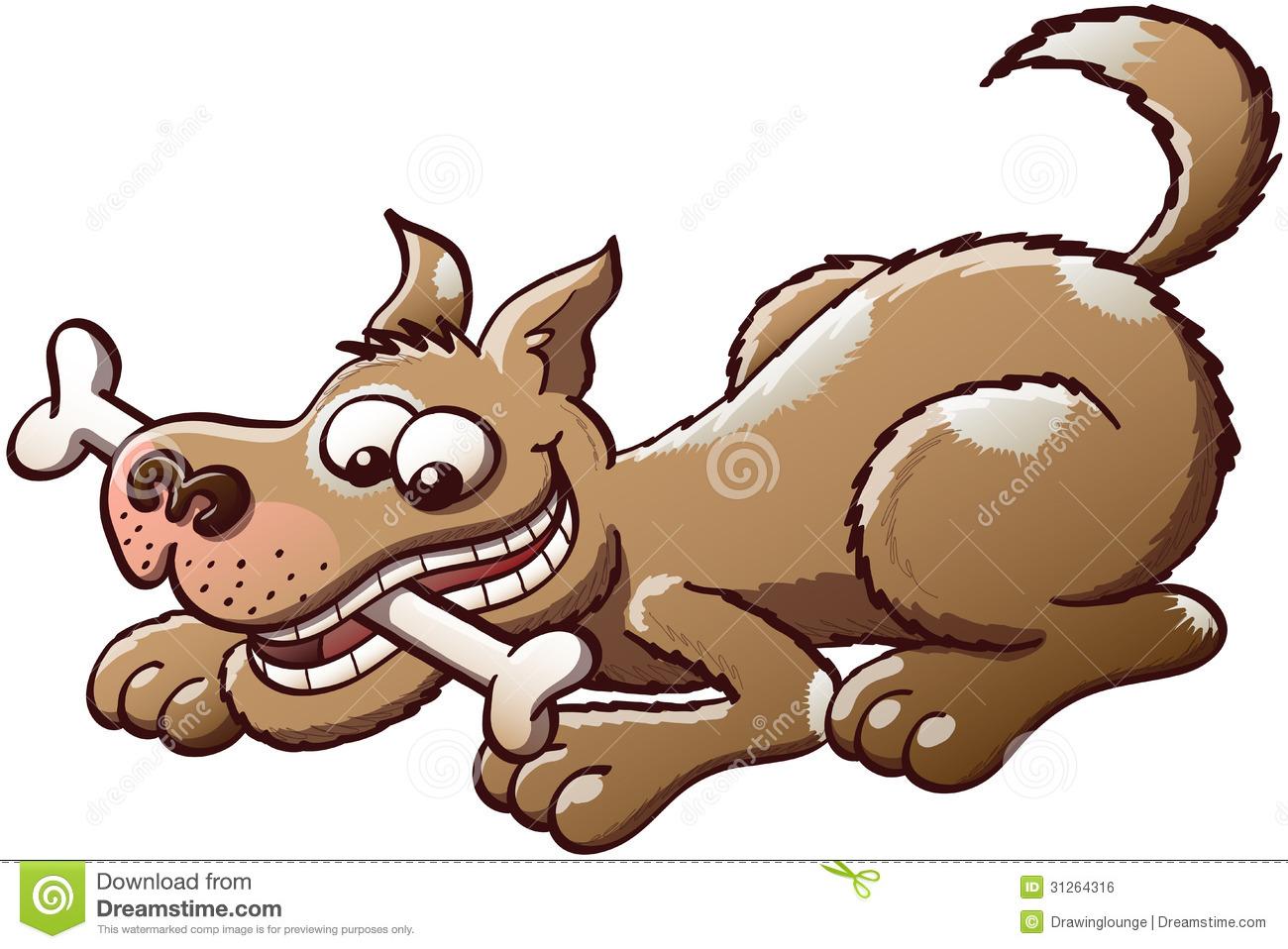 Dog eating bone clipart.