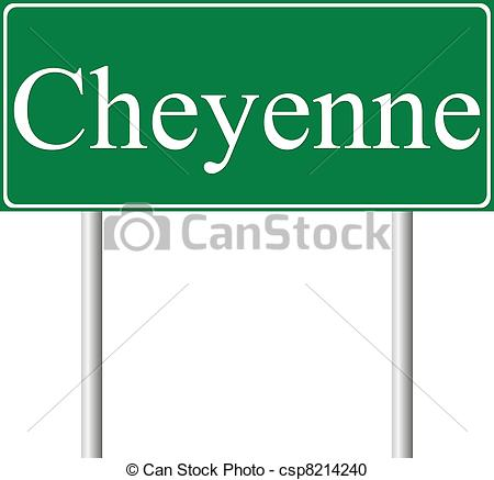 Vector Clipart of Cheyenne green road sign isolated on white.