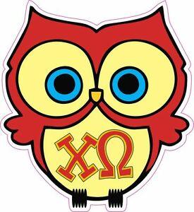 Details about Chi Omega Owl Sticker Decal Sorority Greek Laptop Window Car.