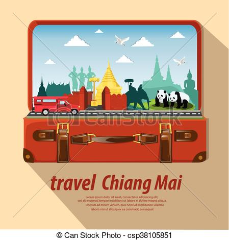 Clipart Vector of illustration. travel around Chiang Mai Province.