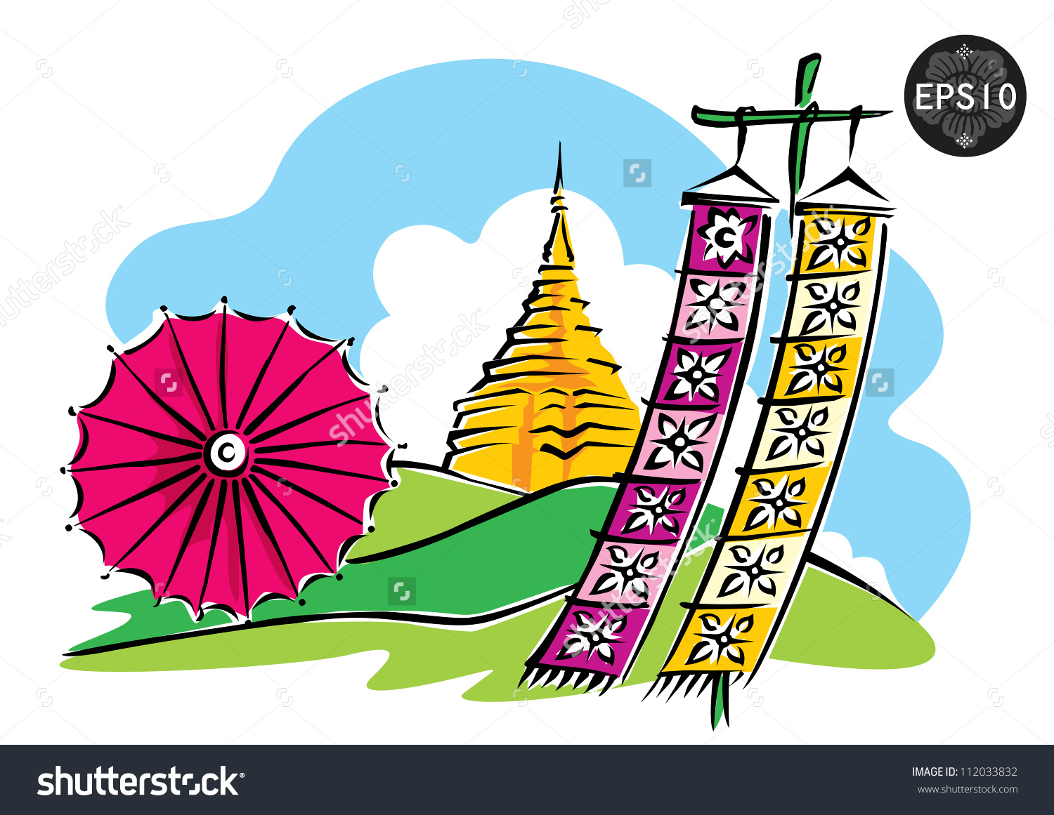 Northern Thailand Doi Suthep Chiang Mai Stock Vector 112033832.