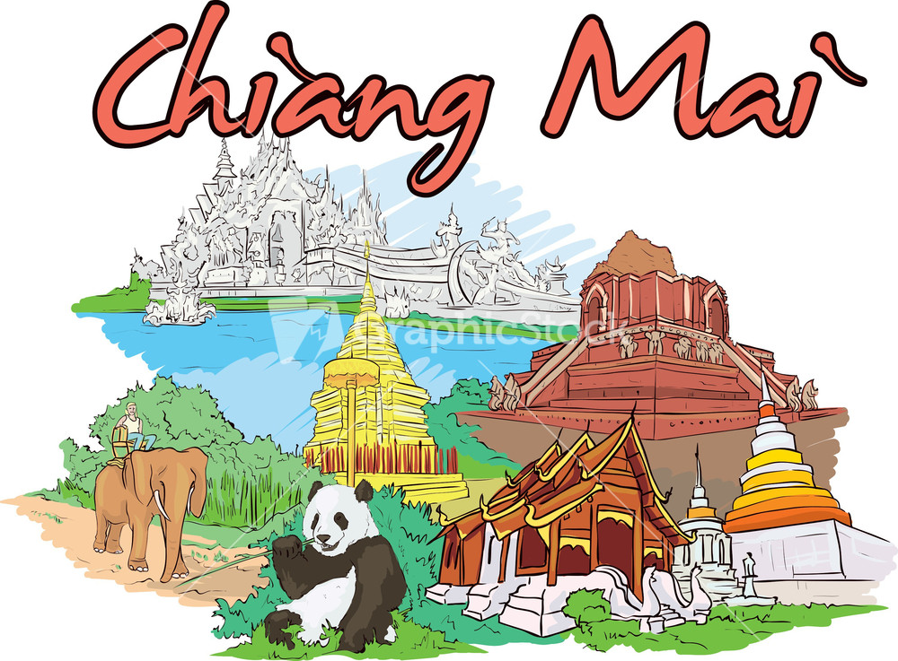 Chiang Mai Vector Doodle.