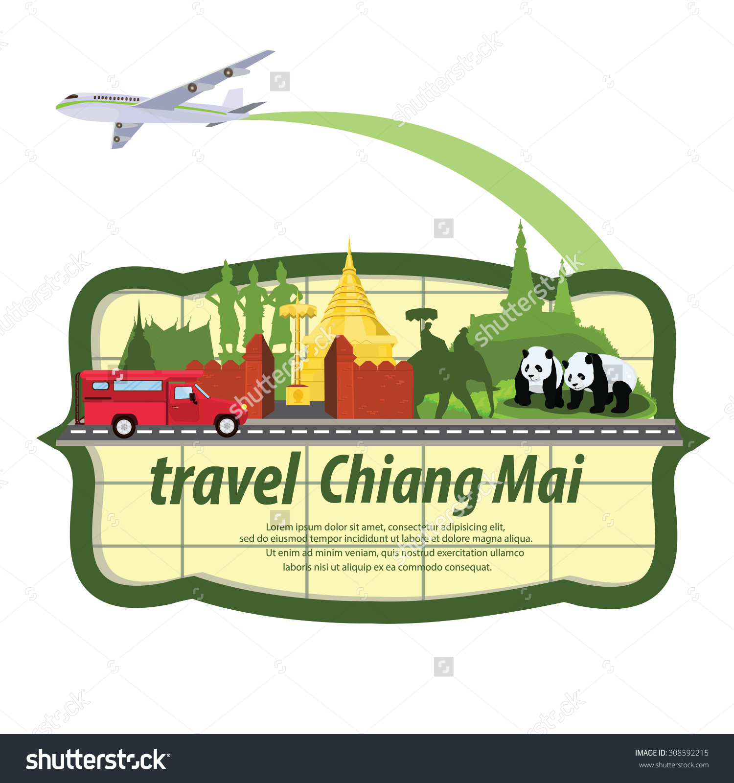 Illustration Travel Around Chiang Mai Province Stock Vector.
