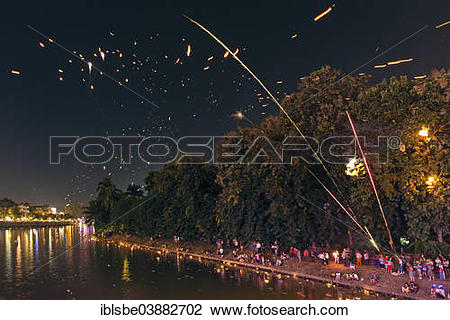 """Stock Photo of """"People on the banks of Maenam Ping, Khoom Loy."""