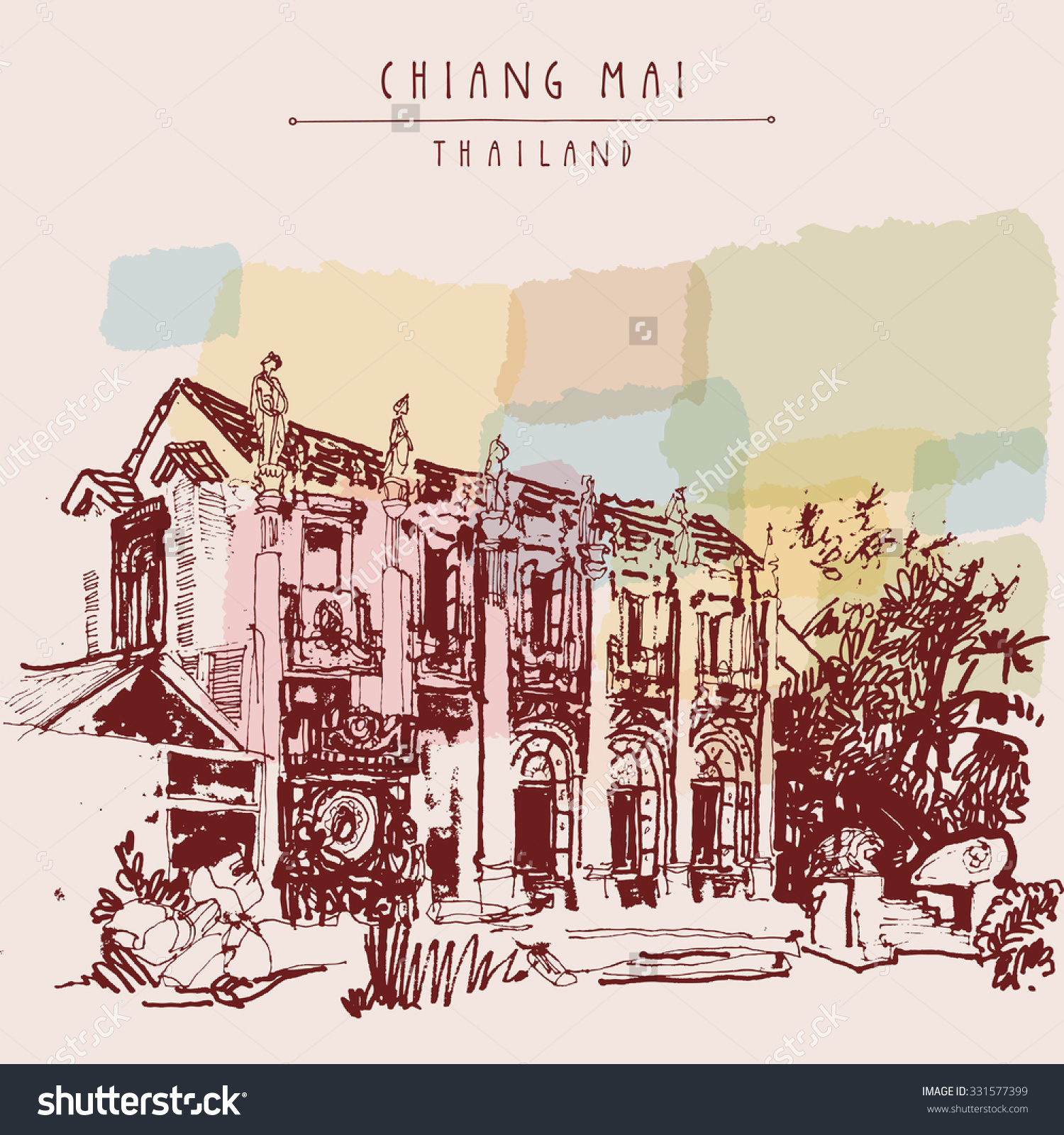 Chiang Mai, Thailand. Eclectic Style Building With Reliefs And.