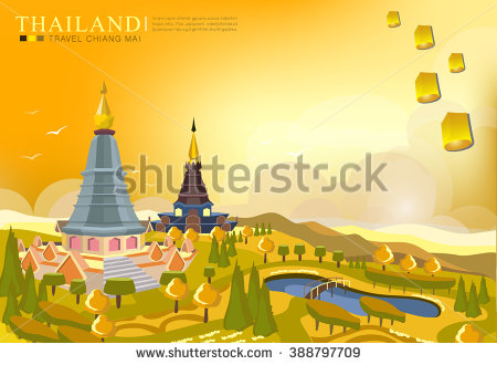 Vector Landmark Chiang Mai Thailand Stock Vector 388798291.