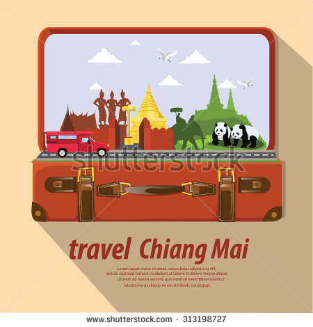 Travel Chiang Mai,Thailand, Vector.