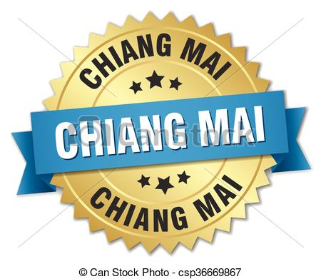 Clip Art Vector of Chiang mai round golden badge with blue ribbon.