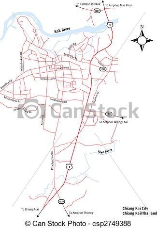 Vector of Chiang Rai City Map.