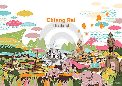 Welcome To Chiang Rai Thailand Stock Vector.
