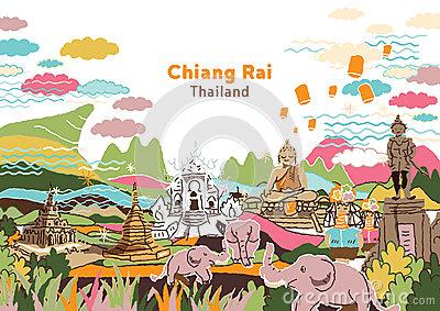 Welcome To Chiang Rai Thailand Stock Vector.