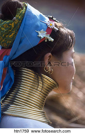 Stock Photograph of Thailand, Chiang Rai, Long Neck Hilltribe.