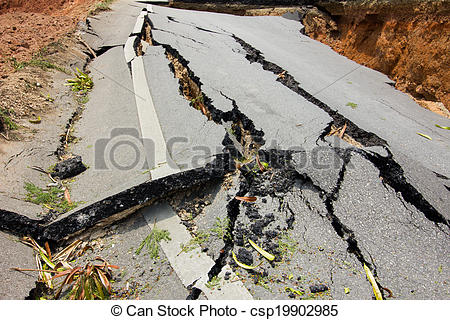 Pictures of broken road by an earthquake in Chiang Rai, thailand.