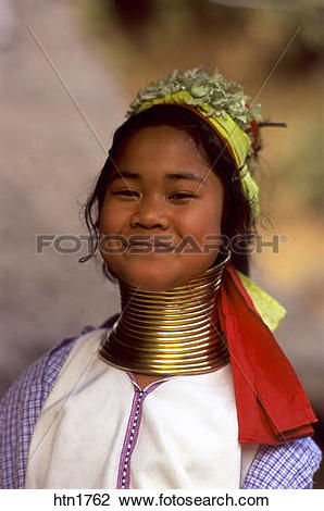 Stock Photo of Thailand, Chiang Rai, Long Neck Hilltribe, Girl.