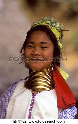 Stock Photo of Thailand, Chiang Rai, Long Neck Hilltribe, Girl.
