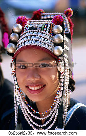 Picture of Thailand,Chiang Rai,Akha Hilltribe Girl Wearing.