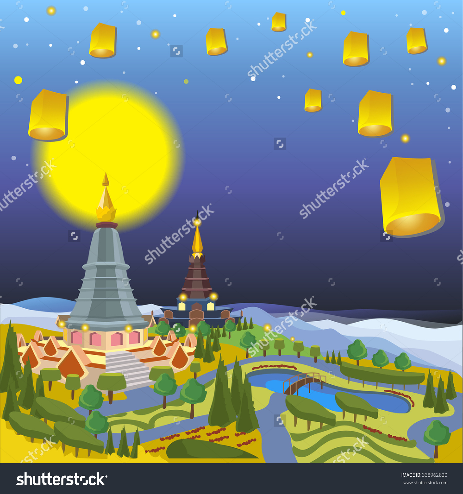 Chiang Mai Loy Krathongthailand Full Moon Stock Vector 338962820.