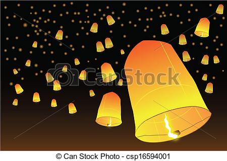 Vector Clipart of Lanna Fire Balloons on Loy krathong Festival.