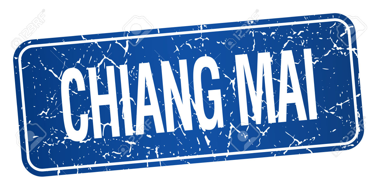 Chiang Mai Blue Stamp Isolated On White Background Royalty Free.
