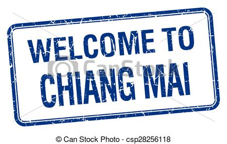 Vector Clip Art of welcome to Chiang mai blue grunge square stamp.