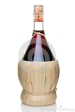 A Bottle Of Chianti Wine Stock Photo.