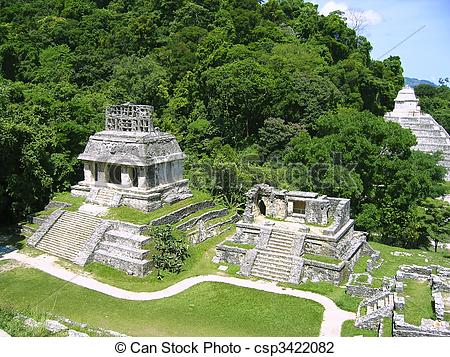 Stock Photo of Palenque mayan ruins maya Chiapas Mexico.