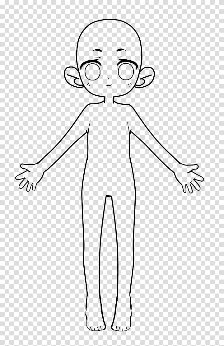 FU Tall Chibi Base, girl sketch transparent background PNG.