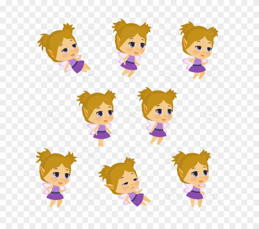 Purple Fairy Chibi 2d Animated Sprite Pack, Animated Clipart.