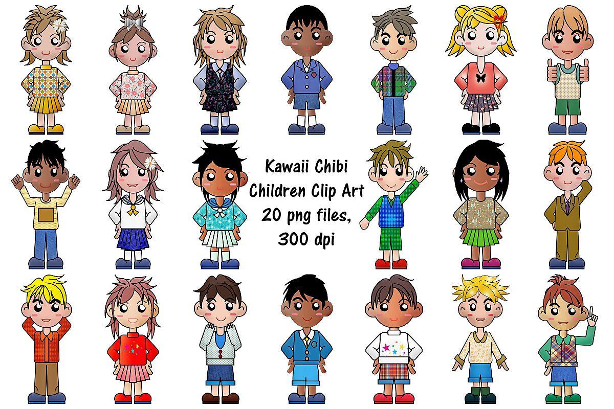 Kawaii Chibi Children Clip Art.