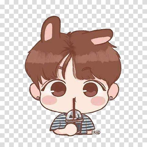 BTS CHIBI , boy drinking transparent background PNG clipart.