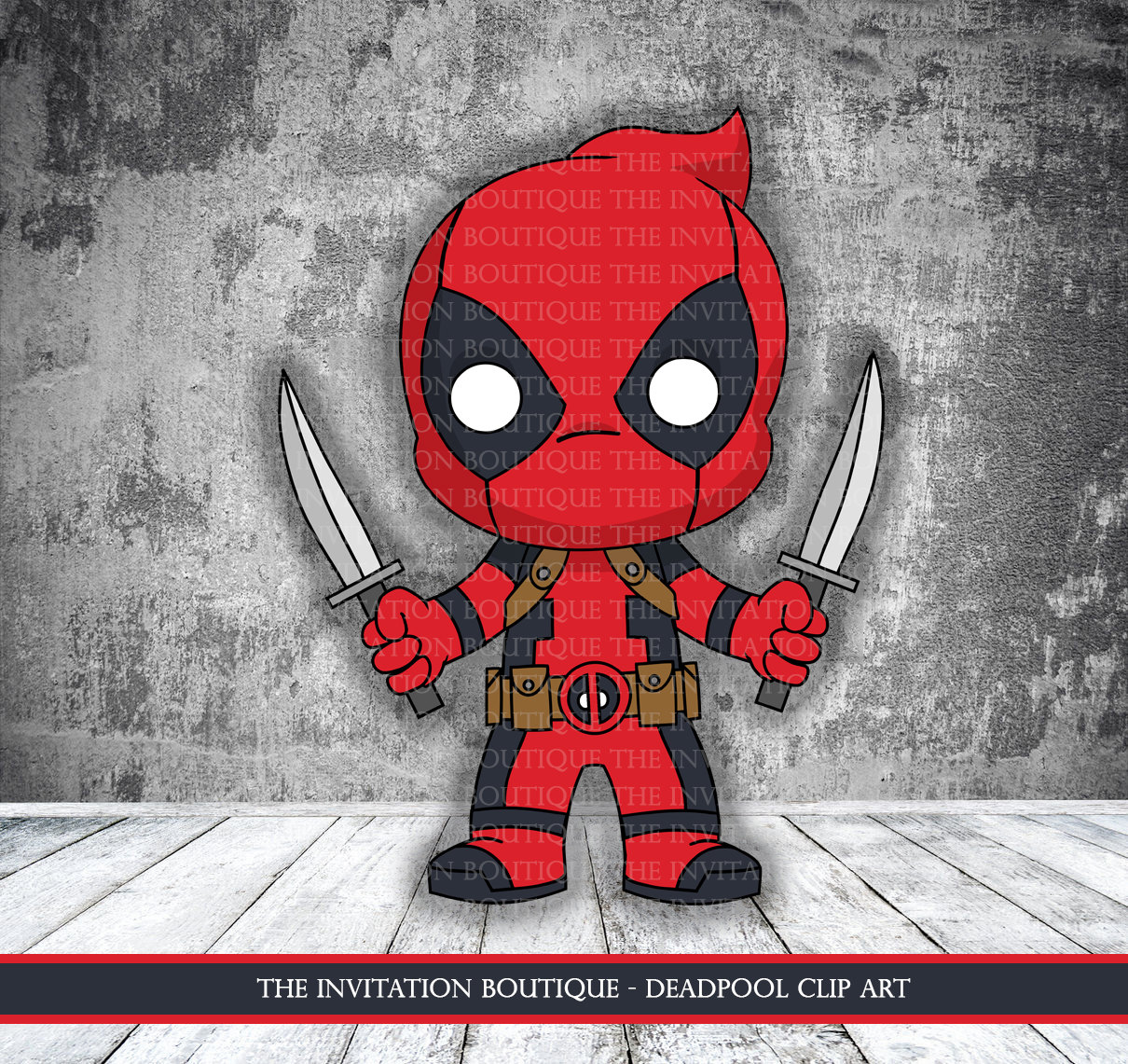 Chibi Deadpool Clipart INSTANT DOWNLOAD.