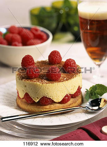 Stock Photo of Raspberry Chiboust with chocolate sauce 116912.