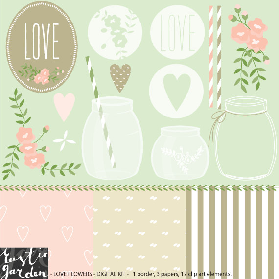 Floral rustic shabby chic clipart wedding by RusticDigitalPaper.