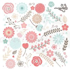 Valentines Vintage Floral Borders Clipart, Shabby Chic Clipart.