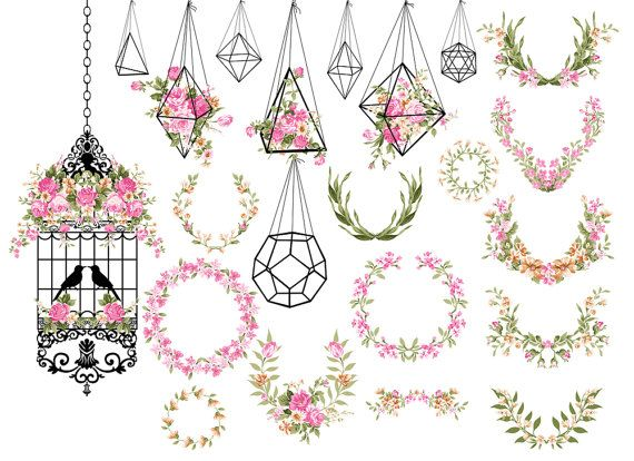 Wedding Clipart Shabby Chic Clipart terrarium by ItGirlDigital.