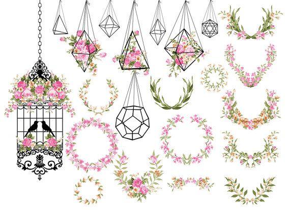 Wedding Clipart Shabby Chic Clipart terrarium by ItGirlDigital.