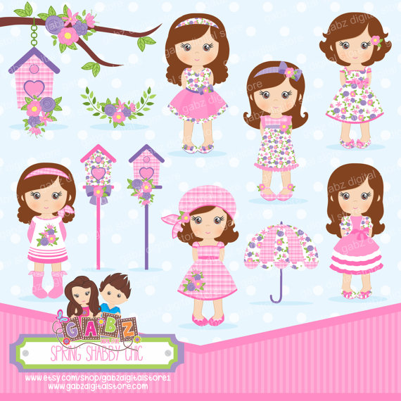 Spring Shabby Chic Party Girls Birthday Clipart by.