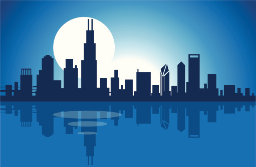 Chicago skyline at night clipart.