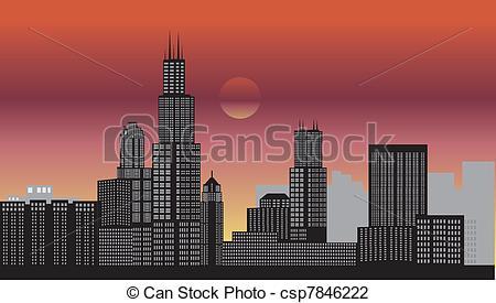 Vector Illustration of chicago night csp7846222.