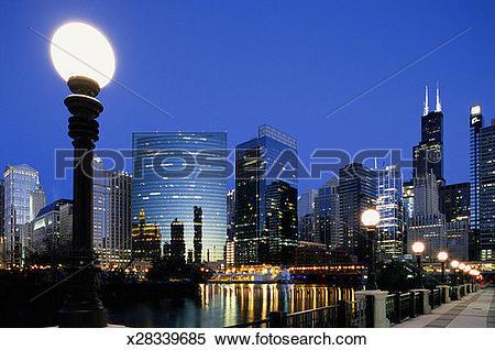 Stock Image of USA, Illinois, Chicago skyline, night x28339685.