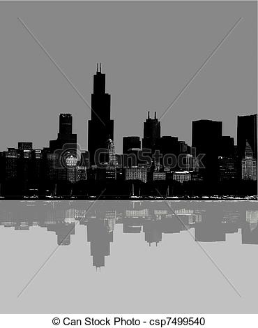 Stock Illustration of Abstract Chicago skyline.