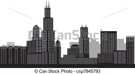 Chicago skyline night clipart.