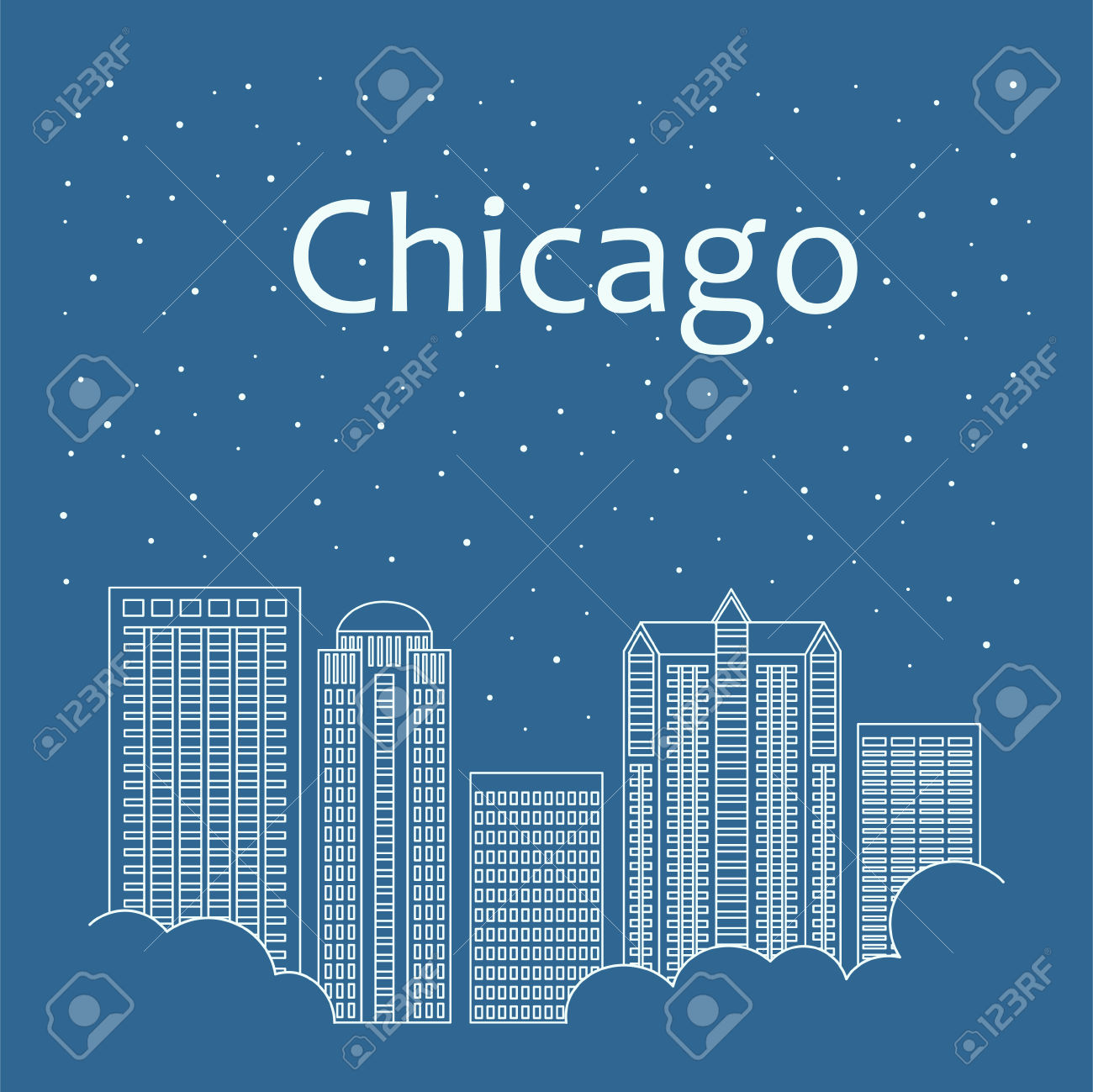 149 Chicago At Night Stock Vector Illustration And Royalty Free.