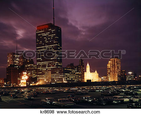 Pictures of 1960S Chicago, Il Skyline At Night From Monroe Drive.