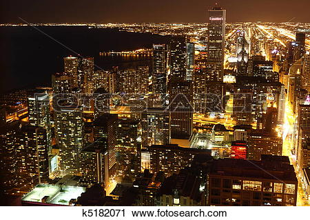 Stock Photography of View to Downtown Chicago / USA from high.