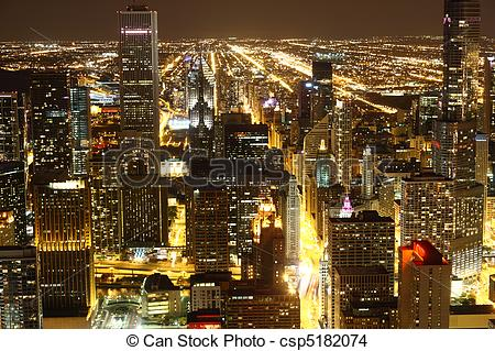 Stock Photo of View to Downtown Chicago / USA from high above at.