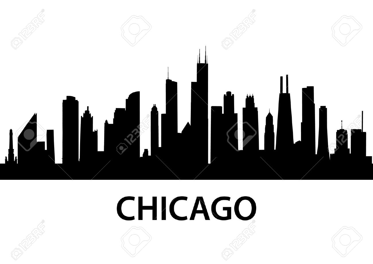 Chicago at night clipart #17