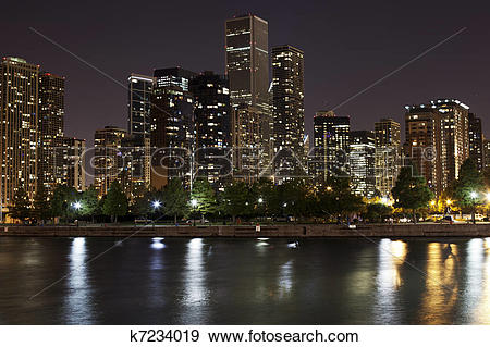 Stock Photograph of Downtown Chicago at Night k7234019.